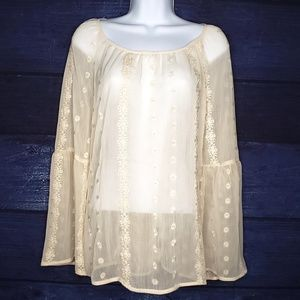 Lace Detailed Sheer Blouse by Knox Rose